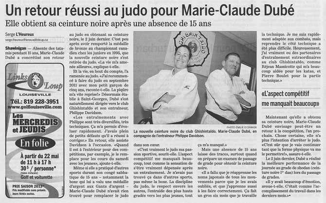 Article de journal sur MC Dube